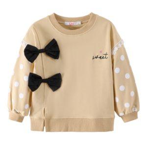 Dívčí stylová mikina s roztomilými mašličkami a puntíky