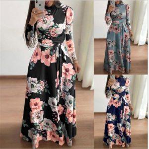 Dámské dlouhé květované šaty s dlouhým rukávem - Plus size