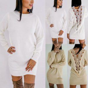 Dámské jarní šaty s krajkou na zádech