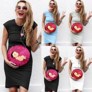 Dámské těhotenské elastické šaty s potiskem