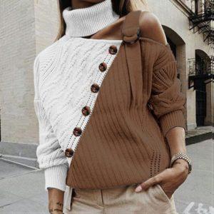 Dámský elegantní dvoubarevný svetr s knoflíky
