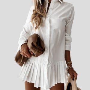 Dámské košilové šaty s dlouhým rukávem na léto