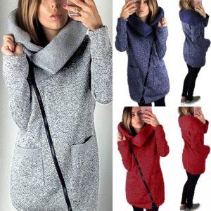 Dlouhá dámská mikina na zip s kapucí