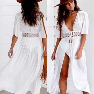 Plážové dlouhé maxi šaty s výstřihem do V