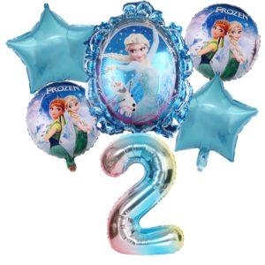 Dětský modrý set nafukovacích čísel Elsa