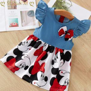 Letní roztomilé dívčí šatičky s motivem Mickey Mouse