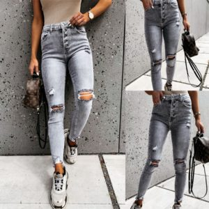 Dámské úzké šedé roztrhané džíny s knoflíky a vysokým pasem