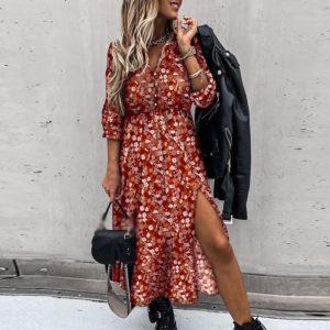 Dámské dlouhé šaty s kytičkovaným vzorem a dlouhým rukávem Andrea