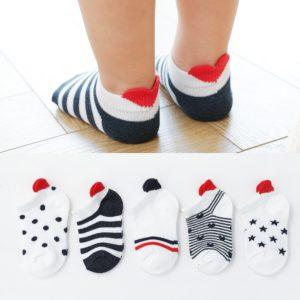 Dětské kotníčkové ponožky se srdíčky - 5 párů