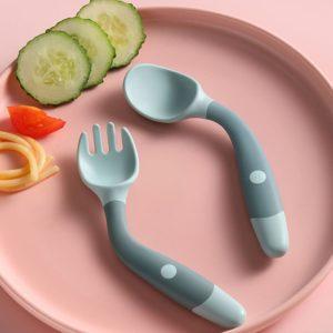 Silikonová dětská lžička s vidličkou