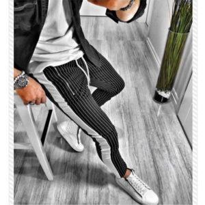 Módní pánské pruhované kalhoty s úzkým střihem