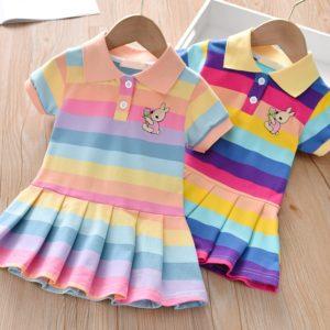 Dívčí letní pruhované šaty s krátkým rukávem