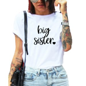 Dámské stylové triko s krátkým rukávem a nápisem Big Sister