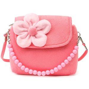 Dívčí crossbody kabelka zdobená květinou a perlovým uchem