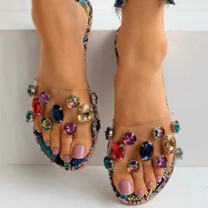 Dámské letní sandálky poseté barevnými krásnými kamínky