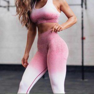 Dámský dvoubarevný žíhaný fitness set
