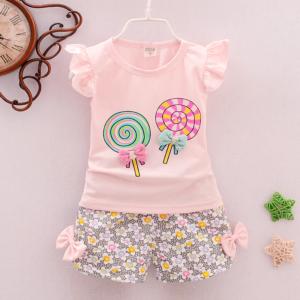Dvoudílné bavlněné letní oblečení pro holčičky